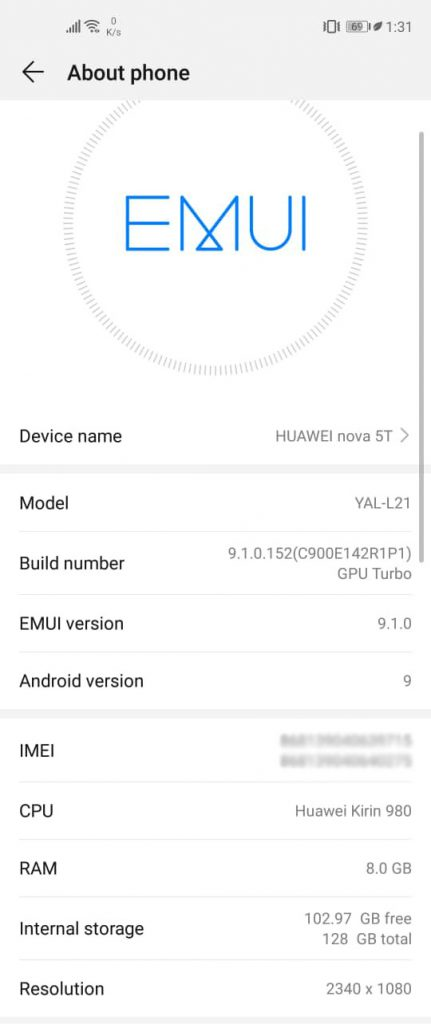 Huawei Nova 5T EMUI 9