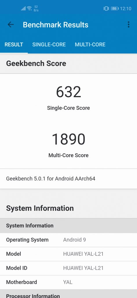 Nova 5T Geekbench Normal Mode