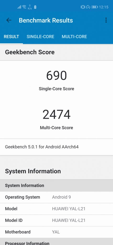 Nova 5T Geekbench Performance Mode