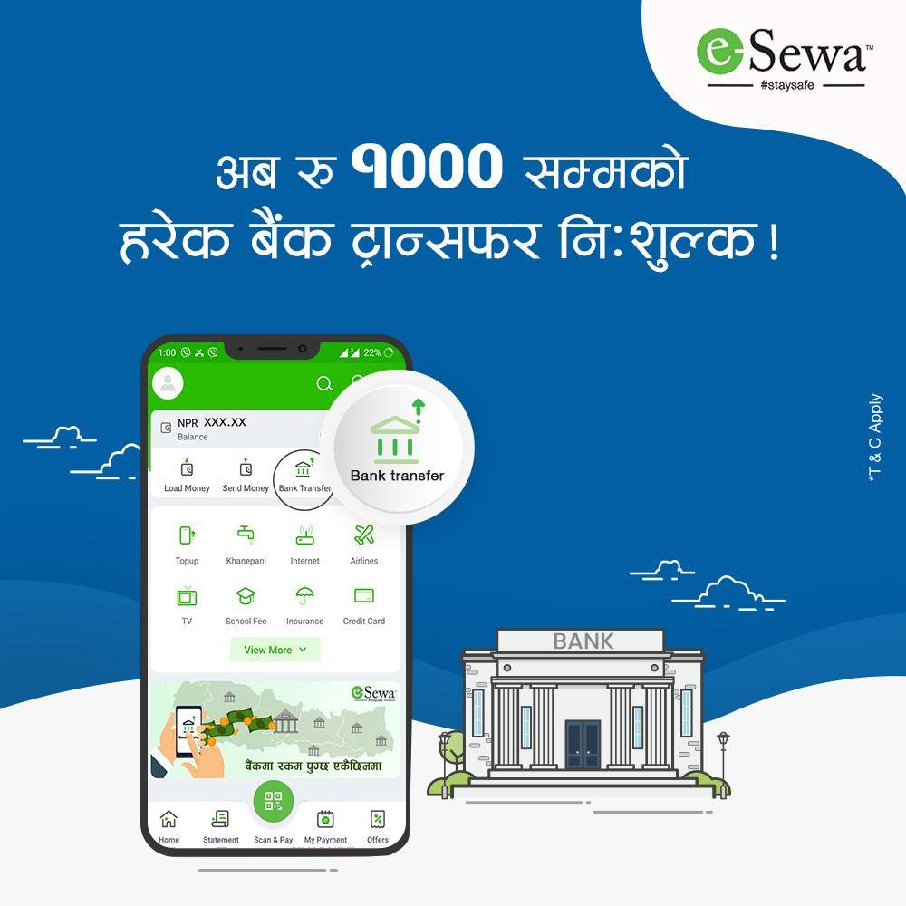 esewa free bank transfer