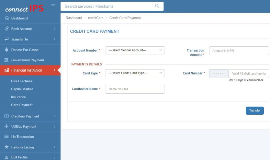 credit card bill payment connectips